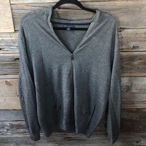 Men's wool hoodie style zipper cardigan sweater